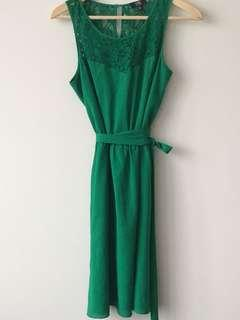 Bright green lace dress, size S