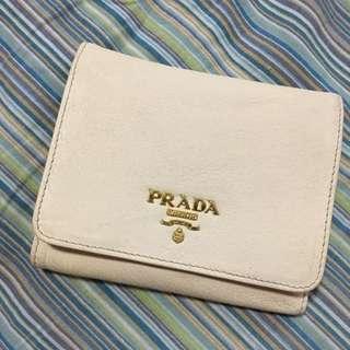 Authentic Prada Cream Leather Wallet