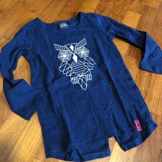 3T NEW Le Chat Botte Owl print blue navy toddler long sleeved tee