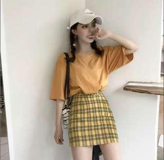 Mustard Checkered Skirt