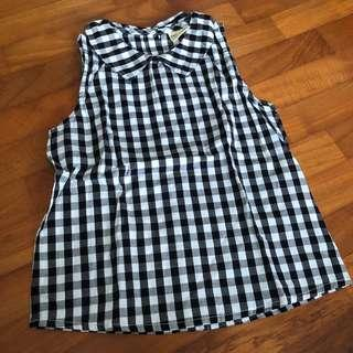3-4T NEW Black and White Gingham top toddler