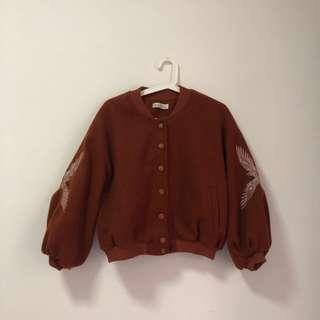 🚚 Brown Tan Chocolate Bomber Jacket with Sparrow Embroidery