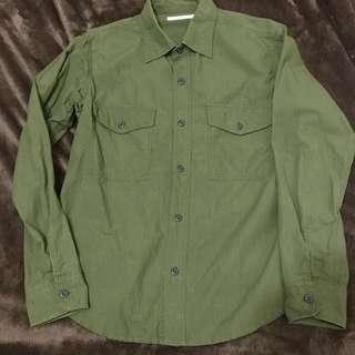 Journal standard 日本 雙口袋 軍裝 防撕裂 襯衫 軍綠 長袖 JS S號