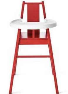 🚚 IKEA Red Baby Chair with Tray (wooden)