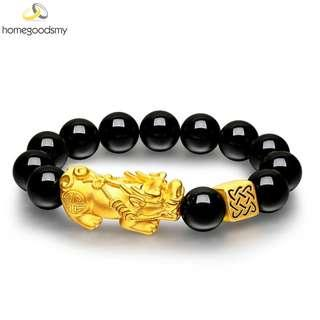 24K Premium Golden Pixiu Bracelet with Square Golden Fortune Beads Attraction of Wealth