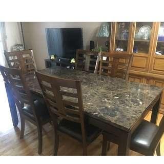 Very Lightly Used Faux Marble Top Dining table- With or Without Chairs