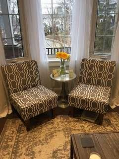 Set of two CANVAS Sloane accent chairs - grey and white