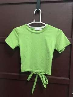 🚚 後綁帶上衣 綠色