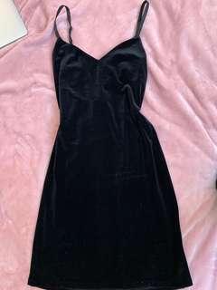 Velour mini black dress