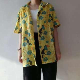 🚚 明日古著代售選物輕薄款度假風黃色輕薄花襯衫117