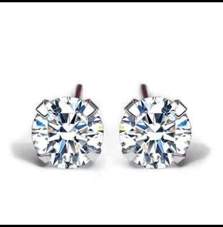 Simple CZ White 925 Stamp Sterling Silver Round Stud Earrings - Brand new