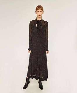 Brand new Zara Shimmer Black Maxi Dress