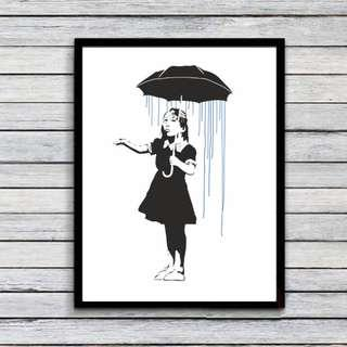 "Banksy canvas Print painting Wall Pictures for home décor 16"" x 12""  Unframed"