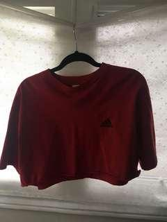 Adidas cropped red t shirt