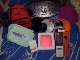 music box , power box, adidas and puma small bags