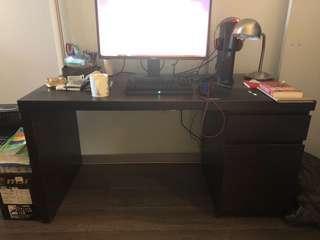 Black Sturdy Desk with Drawers