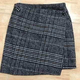 high waisted tweed skirt