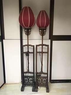 Antique chinese tulip standard lamps