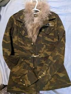 Parasuco Army Green Detachable Fur Coat