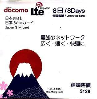 日本Docomo 4G 8日無限上網卡