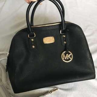 b192a8465ff0 AUTHENTIC Michael Kors Black Saffiano Leather Satchel Bag (Large)