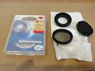 Kenko 37mm UV Filter lens + CPL Filter lens + lens cap + Gopro Hero 4 xiaoyi Action camera Adapter