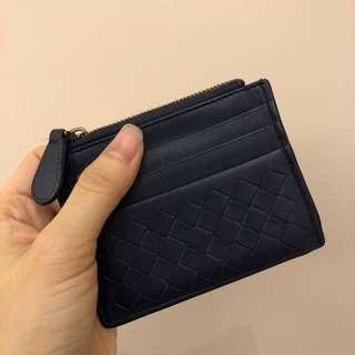 Bottega Veneta 深藍紫色小羊皮零錢包卡夾