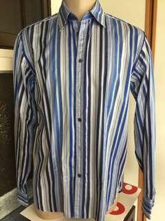 Ted Baker, Parkes Men Dress Shirt in Stripes Sz XL $75@