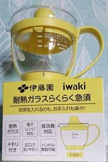 🚚 日本限量 伊藤園專用寬口泡茶壺350ml iwaki耐熱玻璃壺 冷熱泡皆宜 可微波 可放洗碗機 寬口玻璃壺
