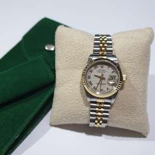 Rolex Datejust Ladies Watch 69173 Two Tone with Ivory Pyramid Roman Dial