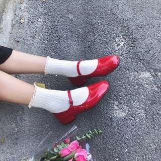 CUTE Korean Red Mary Jane Shoes