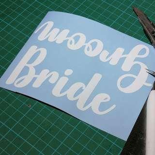 Bride Groom Vinyl Stickers