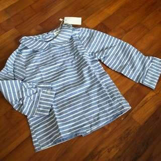 3T NEW Striped top blue toddler girl