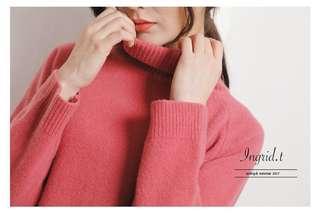 🚚 Ingrid.tw 100%羊毛粉嫩好氣色高領毛衣