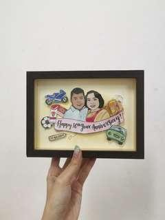 Pop up Portrait Frame | Personalised Gift