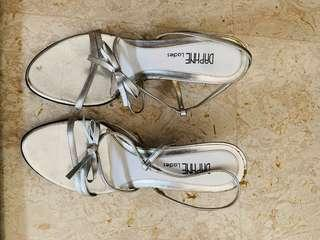 Silver Strappy Sandals with Medium Heels UK 3 36