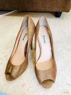 Dune Metallic Gold Heels UK 3 36 Office Pumps Leather