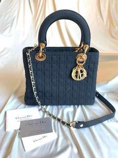 🈹95🆕正品 Lady Dior vintage 25cm Nylon Black 送長鍊   *not LV Hermès Gucci Chanel Chloe Celine Fendi