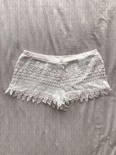 Forever21 White Lace Shorts