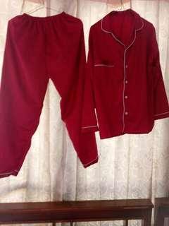 Pijamas Satin Maroon Allsize