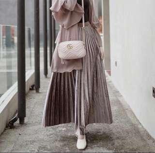 Plisket Skirt Velvet Pink