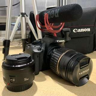 Canon 700D with 18-200mm Lens, 50mm Lens and RODE Mic