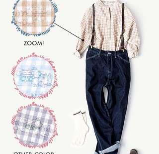 日本代購 SM2 x Moomin 娒明谷pattern格仔企領恤衫