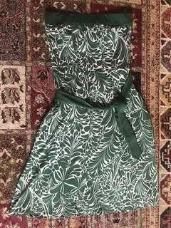 🚚 vintage green strapless dress with pocket