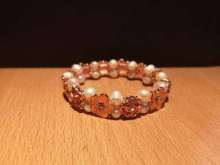 Genuine Pearl & Rose Gold with Crystal from Wah Chan - NEW