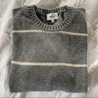 SEED knit grey and baby pink striped XS