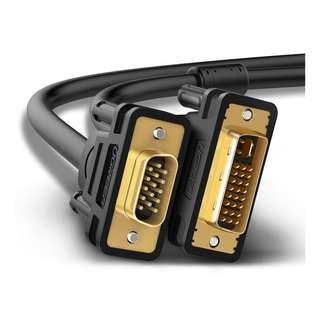 (BN) UGREEN DVI-I (24+5) Male to VGA Male 1080P Full HD Gold Plated Cable - 3m (Brand New)