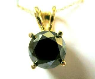 2.5 Carat Brilliant Solitaire Black Diamond Necklace With Cert Valued $5500