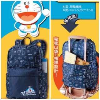 全新哆啦A夢後背包/大容量輕量型/可置於手提行李箱拉桿