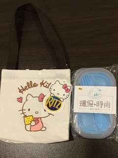 HelloKitty 帆布便當袋加折疊便當盒一個含收納餐具